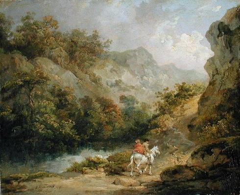 Rocky Landscape with Two Men on a Horse, 1791