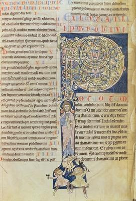 Ms 2 fol.3v t.1 Historiated initial 'P', from the Bible of the Monastery of Saint-Andre aux-Bois