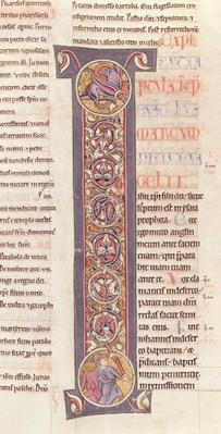Ms 2 fol.175 t.2 The Gospel of St. Mark, from the Bible of the Monastery of Saint-Andre aux-Bois