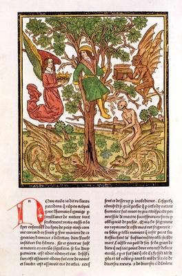 Man between vice and virtue, from 'La Cite de Dieu', 1486-87