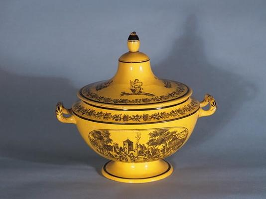 Tureen with black print design, c.1820