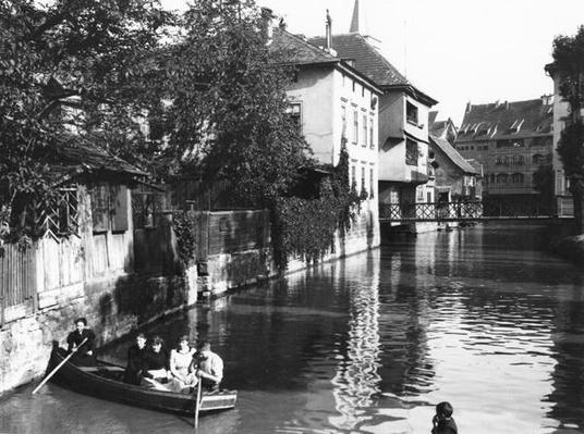 Boating on the river Gera at Erfurt, Thiringia, c.1910