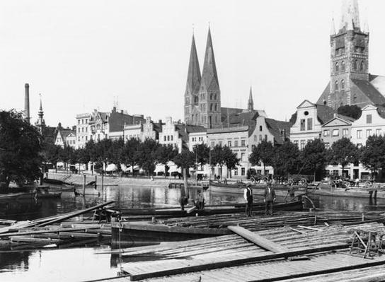 Selling wood on the River Trave, Lubeck, c.1910