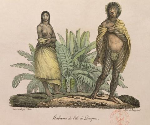 Inhabitants of Easter Island, from 'Voyage Pittoresque Autour du Monde', engraved by G. Langlume, 1822