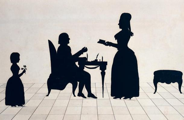 Silhouettes of Monsieur and Madame Roland and their Daughter, Eudora