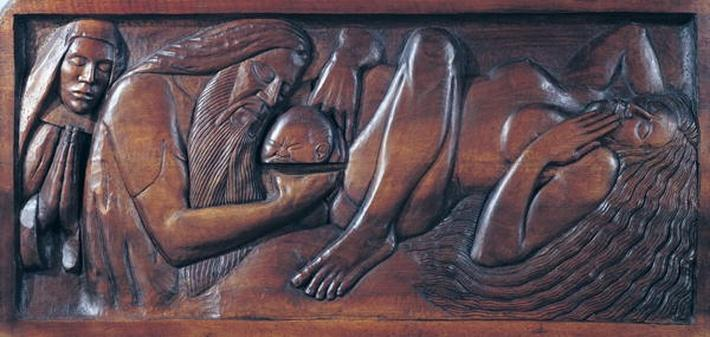 Birth, wooden bed panel, 1894