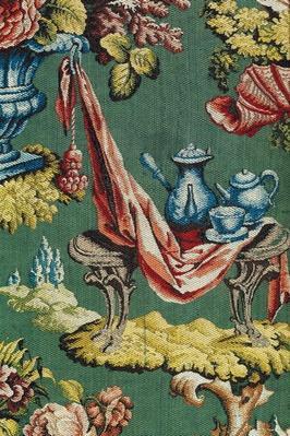 Fabric depicting a chocolate pot and a teapot, Lyon Workshop, c.1730