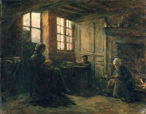 Women Fraying Linen, Honfleur, 1877