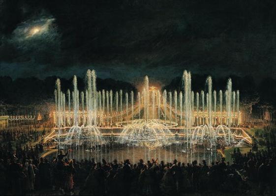 Illuminated Fountain Display in the Bassin de Neptune in Honour of Prince Francisco de Assisi de Bourbon