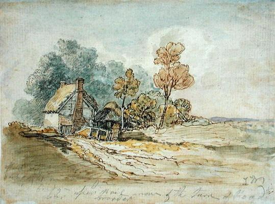 A Thatched Cottage and Trees at the Turn of a Country Road