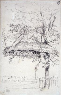 A Thatched Shelter Suspended from a Tree