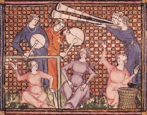 Ms 1044 fol.103v Musicians, from Ovide Moralise written by Chretien Legouais