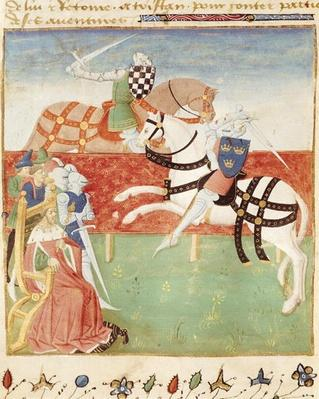 Ms 527 fol.40v Confrontation of Two Knights before the King, from 'Roman du Saint Graal'