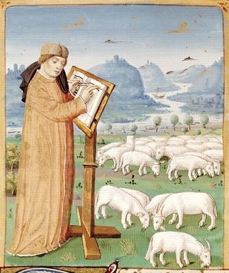 Ms 493 fol.37v Virgil Writing in a Field of Sheep and Goats, from 'The Georgics' by Virgil