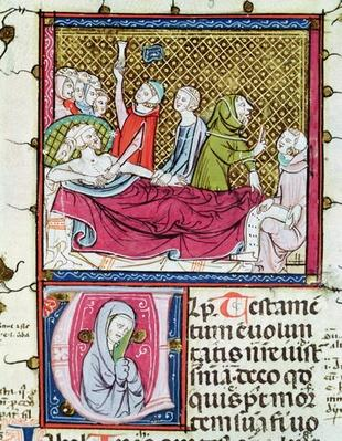 Ms 3076 fol.56r Dying Man Surrounded by Doctors and Family, Dictating his Will, from 'Justiniani in Fortiatum'