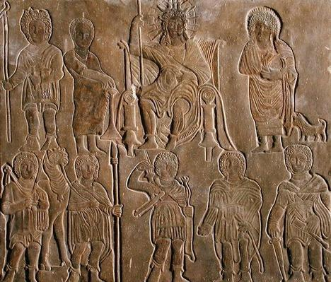 Relief depicting a deified Roman Emperor receiving homage from Egyptian nomads