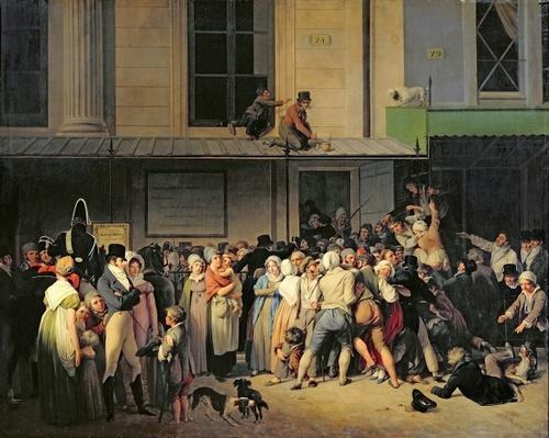 The Entrance to the Theatre de l'Ambigu-Comique before a Free Performance, 1819