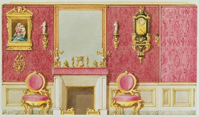 Design for a salon at rue Fortunee, the house bought by Balzac in 1847
