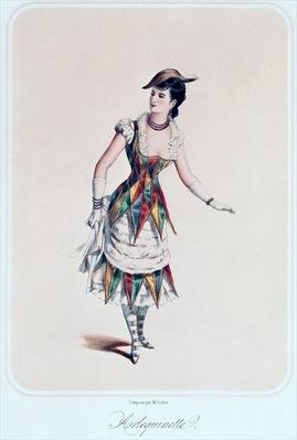 Costume design for a female harlequin, c.1880