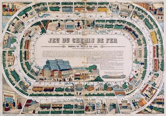 Board for a railway game, 1850