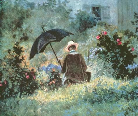 Detail of a Gentleman reading in a garden