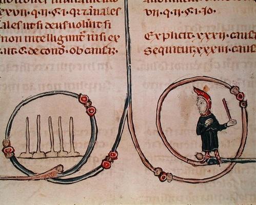 Ms 372 fol.181v A Man Playing Skittles, from 'Decrets de Gratien'