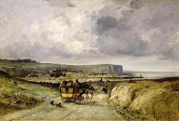 Arrival of a Stagecoach at Treport, 1878