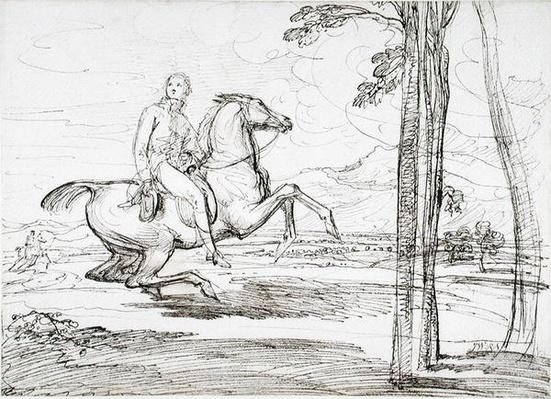 A Horseman in a Landscape, probably a study for 'Theophilus Levett Fox Hunting in Wychnor Park', 1814