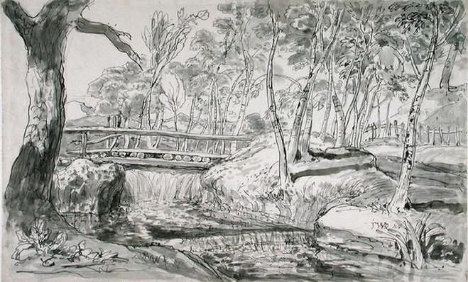 River Landscape with Waterfall