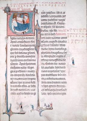 Ms.838 fol.55 Historiated initials 'U' and 'I' depicting the Nativity and the Infant Christ, from 'Obituaire de Notre Dame de Pres', after 1270