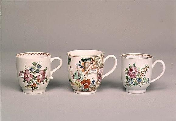 Liverpool coffee cup, c.1750-80; Lowestoft porcelain coffee cup, 1778; Worcester porcelain coffee cup, c.1750-70