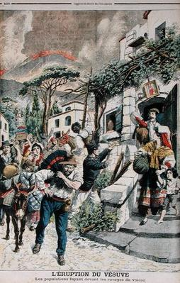 Eruption of Vesuvius, People Fleeing from the Volcano, illustration from 'Le Petit Journal', 22th April 1906