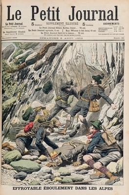 A Horrifying Rock Fall in Tyrol, illustration from 'Le Petit Journal', 5th August 1906