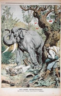 The Tragic End of an Elephant Hunt in India, illustration from 'Le Petit Journal', 25th November 1906