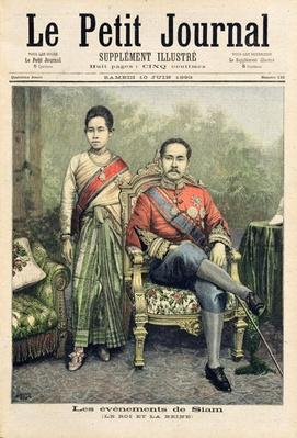 The King and Queen of Siam, illustration from 'Le Petit Journal', 10th June 1893