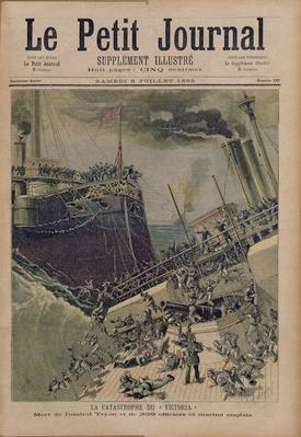 An Accident Aboard the 'Victoria', the Death of Admiral Tyron and 359 Officers and English Sailors, illustration from 'Le Petit Journal', 8th July 1893
