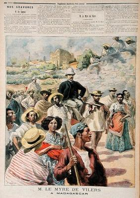 M. le Myre de Vilers in Madagascar, illustration from 'Le Petit Journal', 22th October 1894