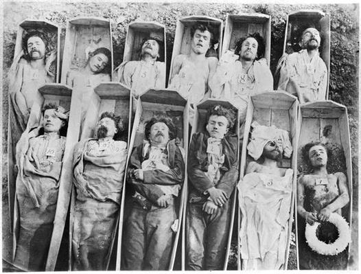 Communards in their coffins, c.1871