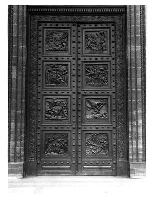 View of the door of La Madeleine comprising of eight relief panels depicting the Decalogue and Old Testament scenes