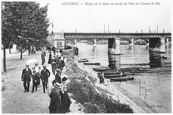 Asnieres, banks of the river Seine and the railway bridge, c.1900