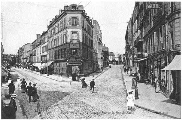 View of Asnieres, Grande Rue and Rue de Paris, c.1900