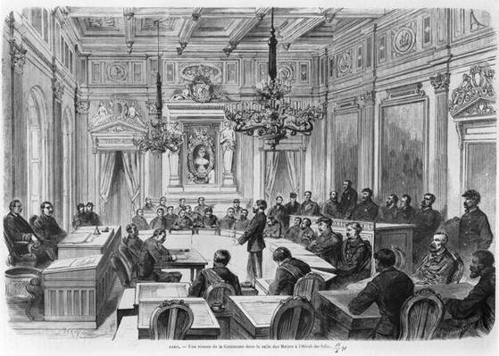 Members of the Commune in session at the Hotel de Ville, Salle des Maires, Paris, 1871