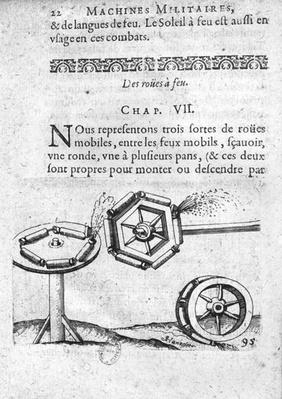 Wheels for fireworks, illustration from 'Recueil de plusieurs machines militaires et feux artificiels pour la guerre et recreation' by Francois Thybourel, Pont-a-Mousson, 1620
