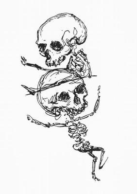 Skeletons, illustration from 'Complainte de l'Oubli et des Morts'
