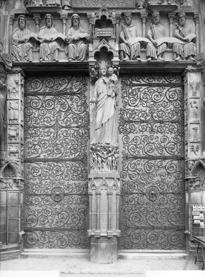 Facade of Notre-Dame, left portal, Paris