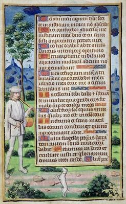 Fol.50v Page of text with a border detail of a musician making his dog dance, from 'Heures de l'Usage de Rome'