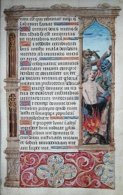 Fol.67r Page of text with a border detail of a man being tortured by two demons, from 'Heures de l'Usage de Rome'