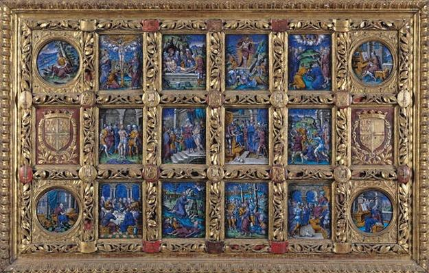 Altarpiece depicting scenes from the Passion and the Evangelists with the arms of Anne de Montmorency, Limousin Workshop