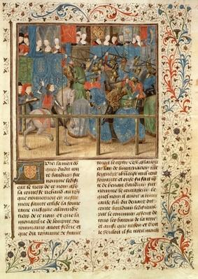 Ms 149 t.3 fol.82 A Tournament Scene, from the 'Histoire des Nobles Princes de Hainaut', by Jacques de Guise