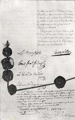 The Treaty of Campo Formio, signed by Napoleon Bonaparte